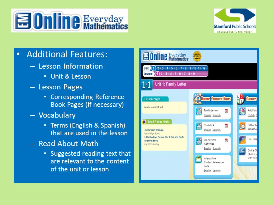 Additional Features: – Lesson Information Unit & Lesson – Lesson Pages Corresponding Reference Book Pages (If necessary) – Vocabulary Terms (English & Spanish) that are used in the lesson – Read About Math Suggested reading text that are relevant to the content of the unit or lesson