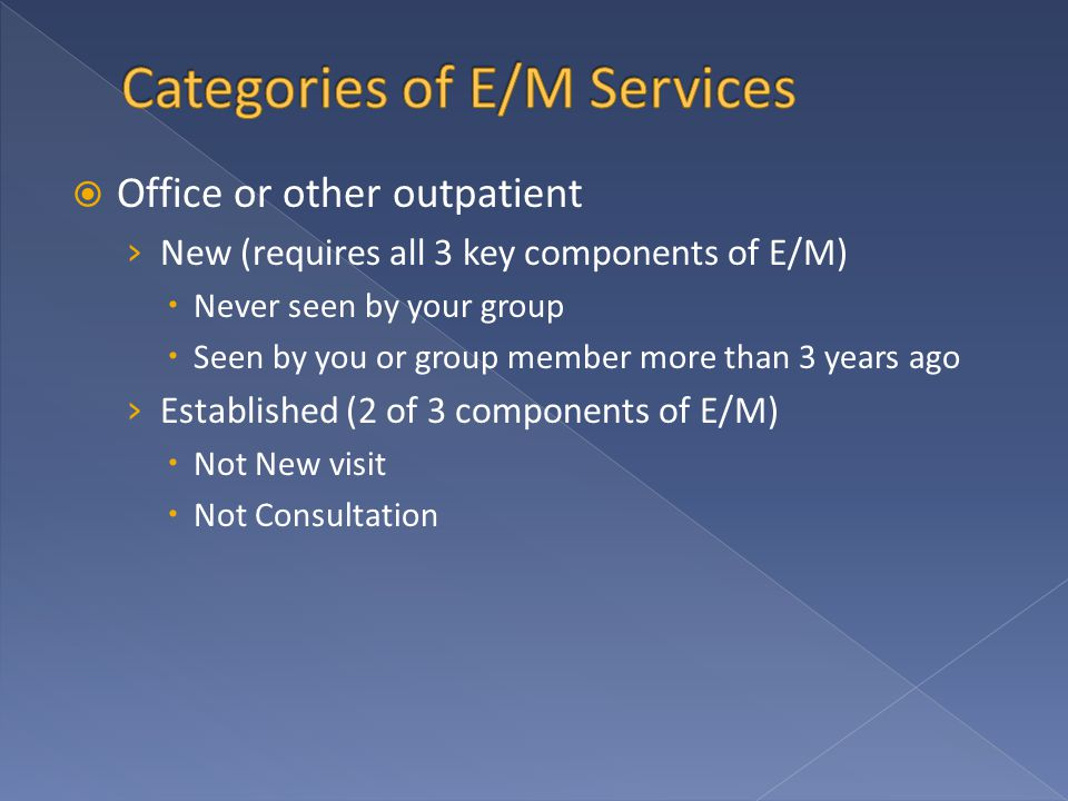  Office or other outpatient › New (requires all 3 key components of E/M)  Never seen by your group  Seen by you or group member more than 3 years a