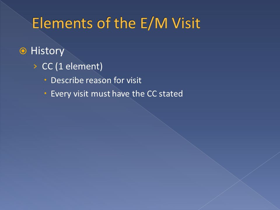  History › CC (1 element)  Describe reason for visit  Every visit must have the CC stated