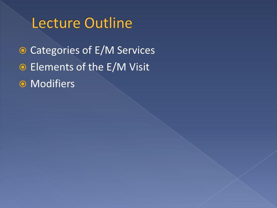  Categories of E/M Services  Elements of the E/M Visit  Modifiers