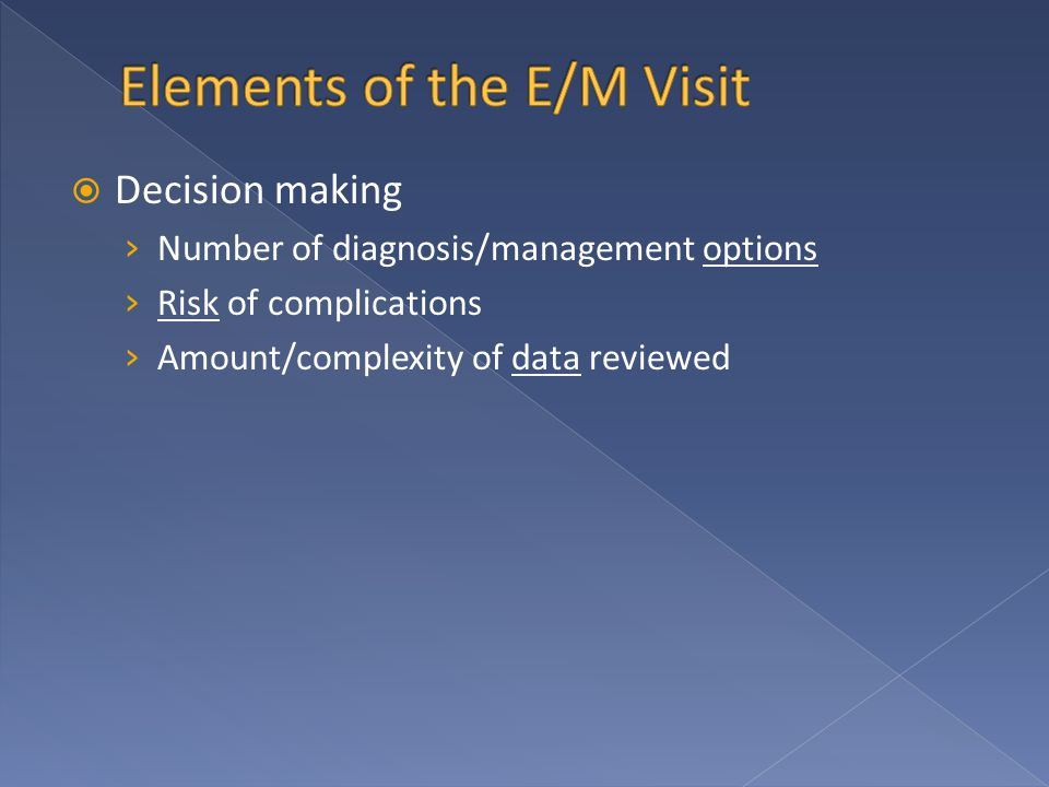  Decision making › Number of diagnosis/management options › Risk of complications › Amount/complexity of data reviewed