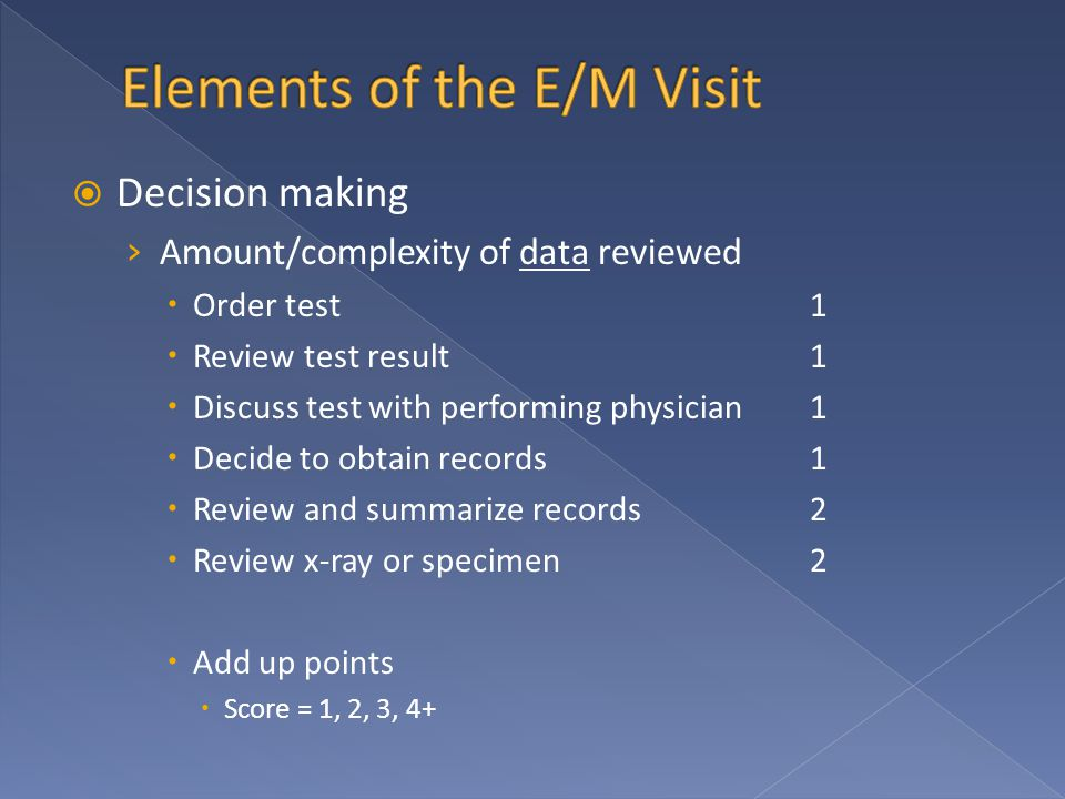  Decision making › Amount/complexity of data reviewed  Order test1  Review test result1  Discuss test with performing physician1  Decide to obtain records1  Review and summarize records2  Review x-ray or specimen2  Add up points  Score = 1, 2, 3, 4+