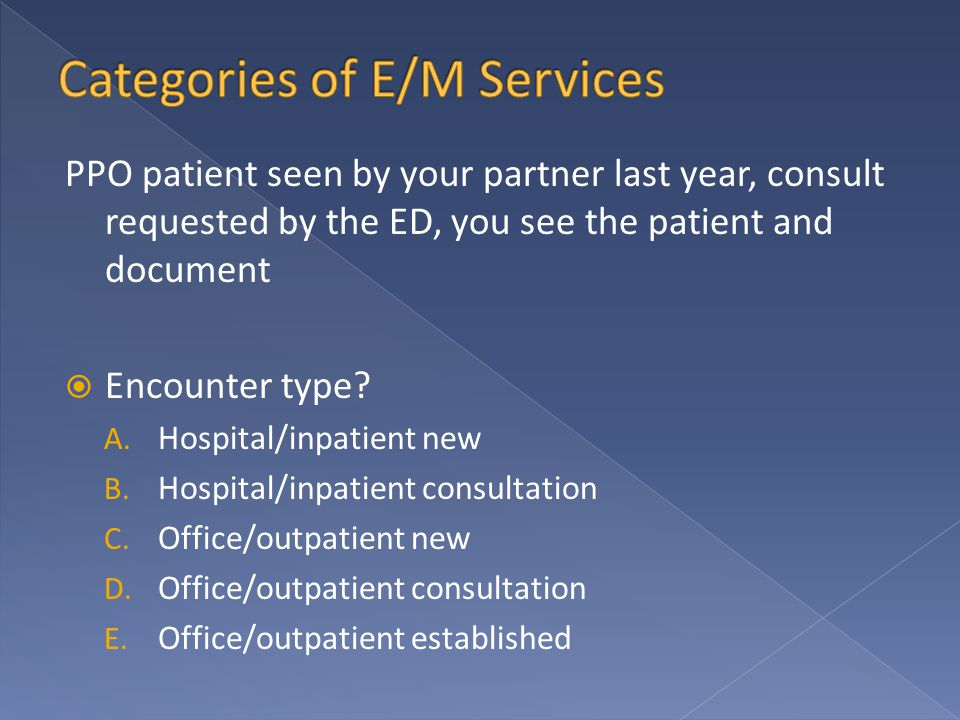 PPO patient seen by your partner last year, consult requested by the ED, you see the patient and document  Encounter type? A. Hospital/inpatient new