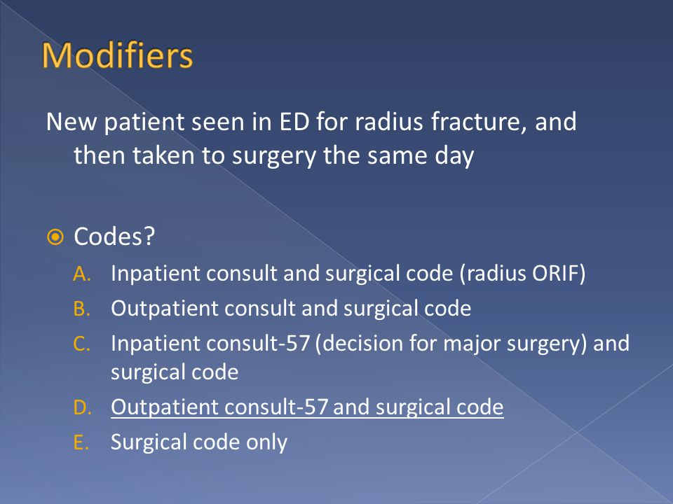 New patient seen in ED for radius fracture, and then taken to surgery the same day  Codes.