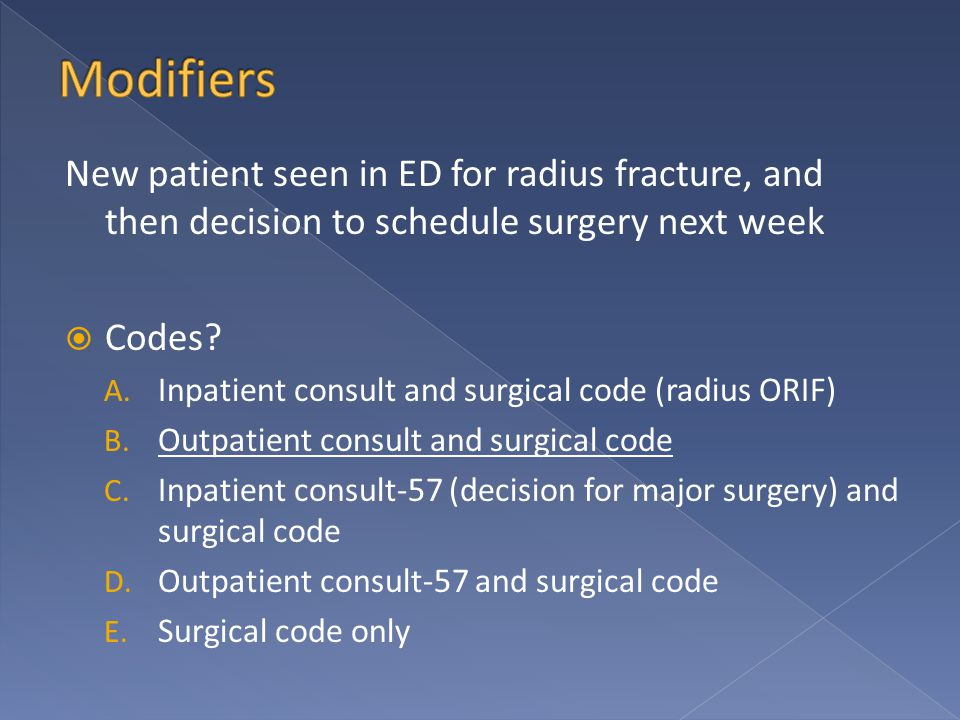 New patient seen in ED for radius fracture, and then decision to schedule surgery next week  Codes.