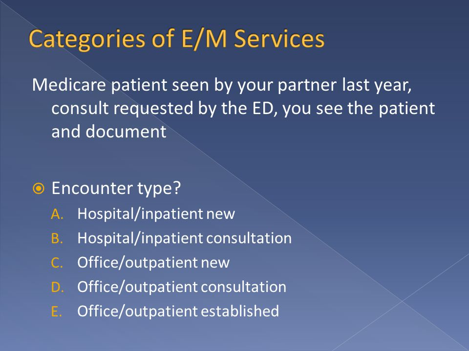Medicare patient seen by your partner last year, consult requested by the ED, you see the patient and document  Encounter type.