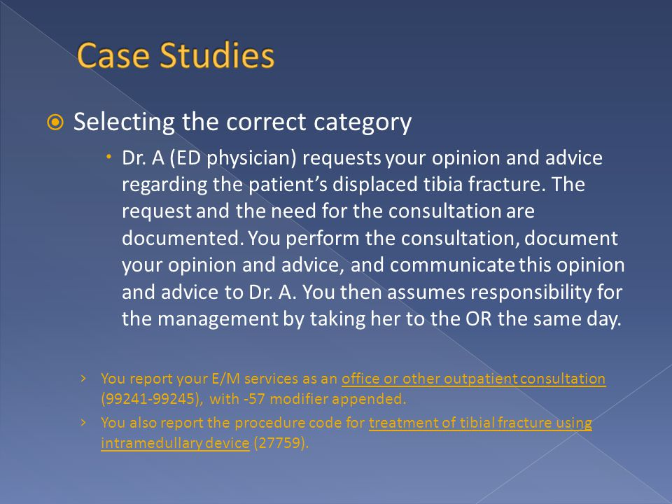  Selecting the correct category  Dr. A (ED physician) requests your opinion and advice regarding the patient's displaced tibia fracture. The request