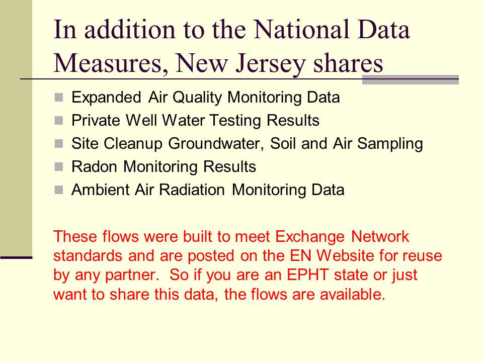 In addition to the National Data Measures, New Jersey shares Expanded Air Quality Monitoring Data Private Well Water Testing Results Site Cleanup Grou
