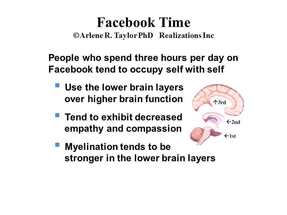 People who spend three hours per day on Facebook tend to occupy self with self  Use the lower brain layers over higher brain function  Tend to exhibit decreased empathy and compassion  Myelination tends to be stronger in the lower brain layers Facebook Time  Arlene R.