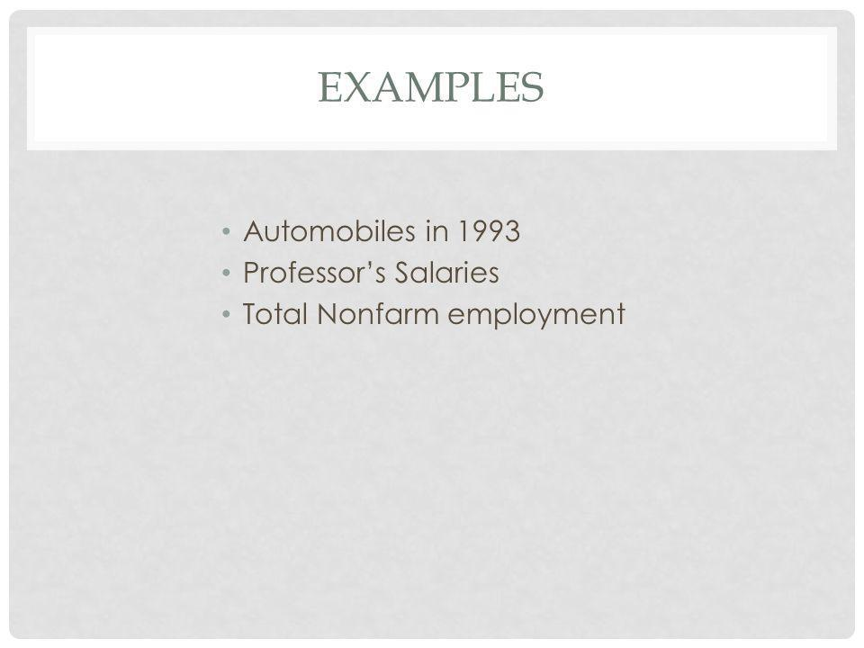 EXAMPLES Automobiles in 1993 Professor's Salaries Total Nonfarm employment