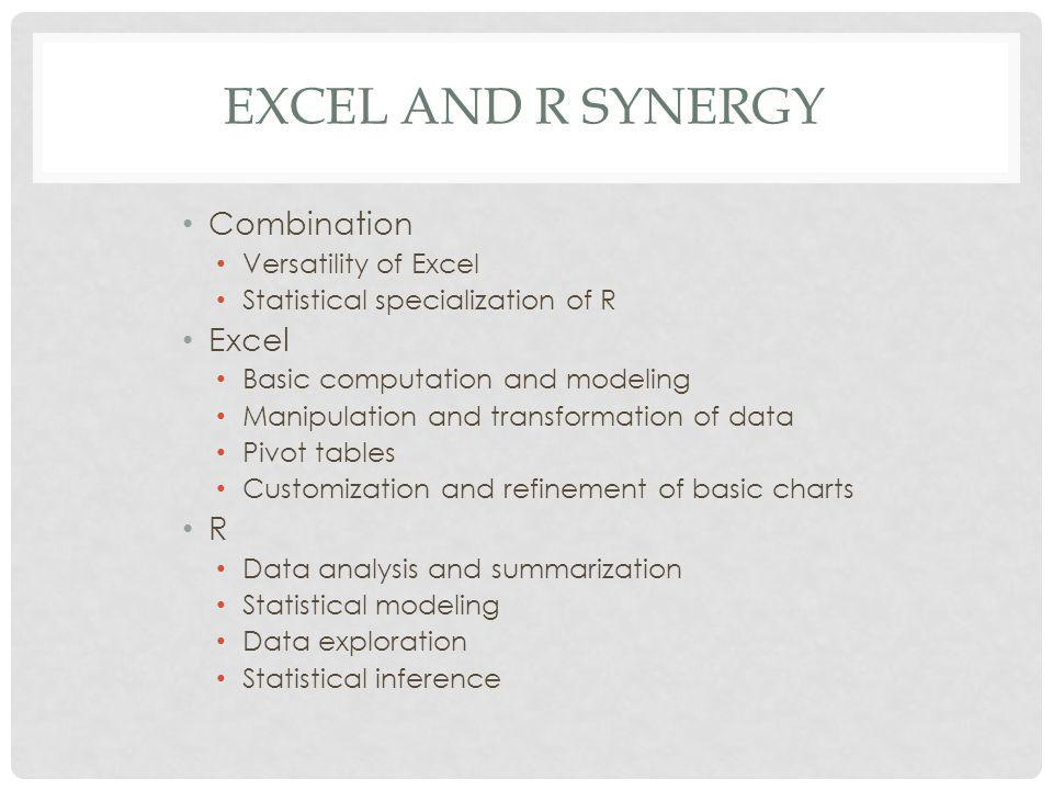 WINDOWS COMPONENTS R statistical language Excel RExcel Statconn R Commander RExcel Workbooks