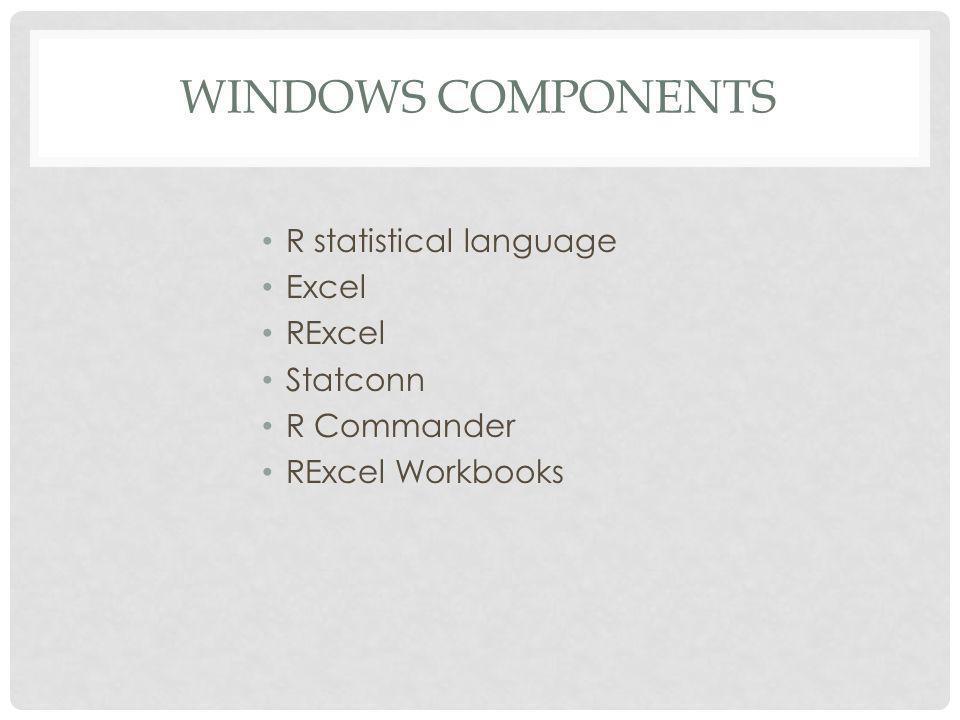 MAC COMPONENTS R statistical language R Commander Excel