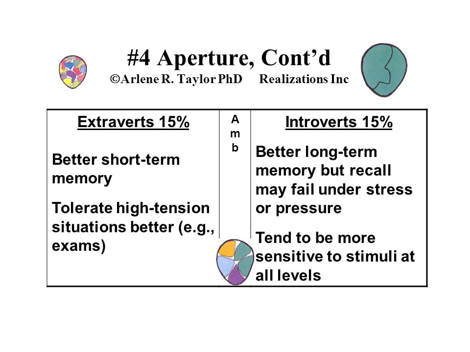 #4 Aperture, Cont'd  Arlene R. Taylor PhD Realizations Inc Extraverts 15% Better short-term memory Tolerate high-tension situations better (e.g., exa