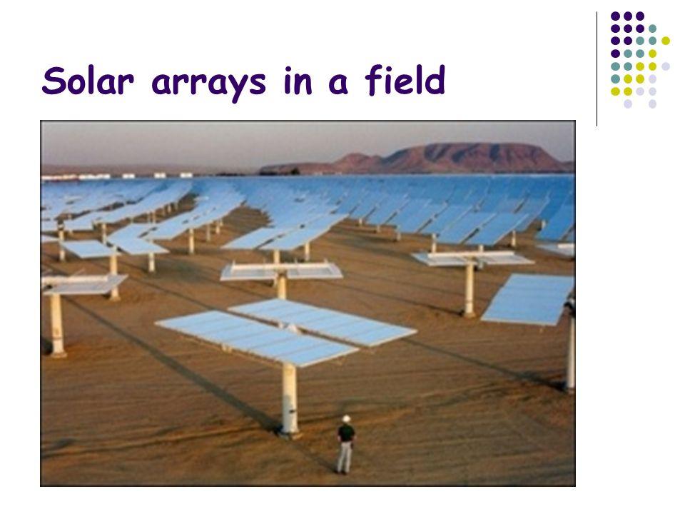 Solar arrays in a field