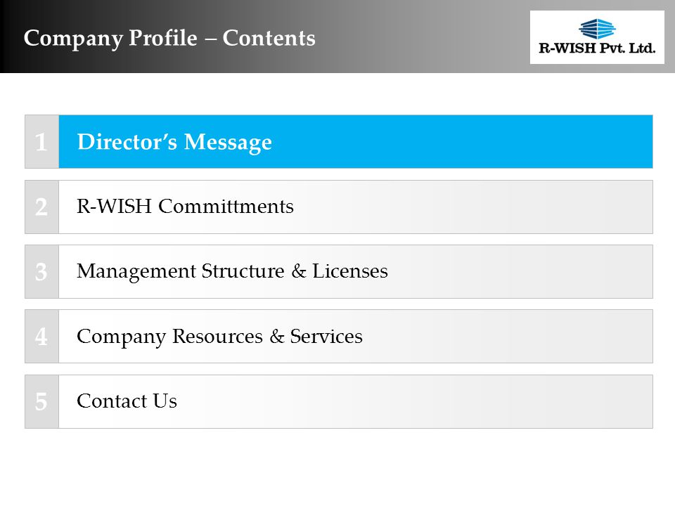 Company Profile  Contents Management Structure & Licenses R-WISH Committments Company Resources & Services Contact Us 1 2 3 4 5 Director's Message