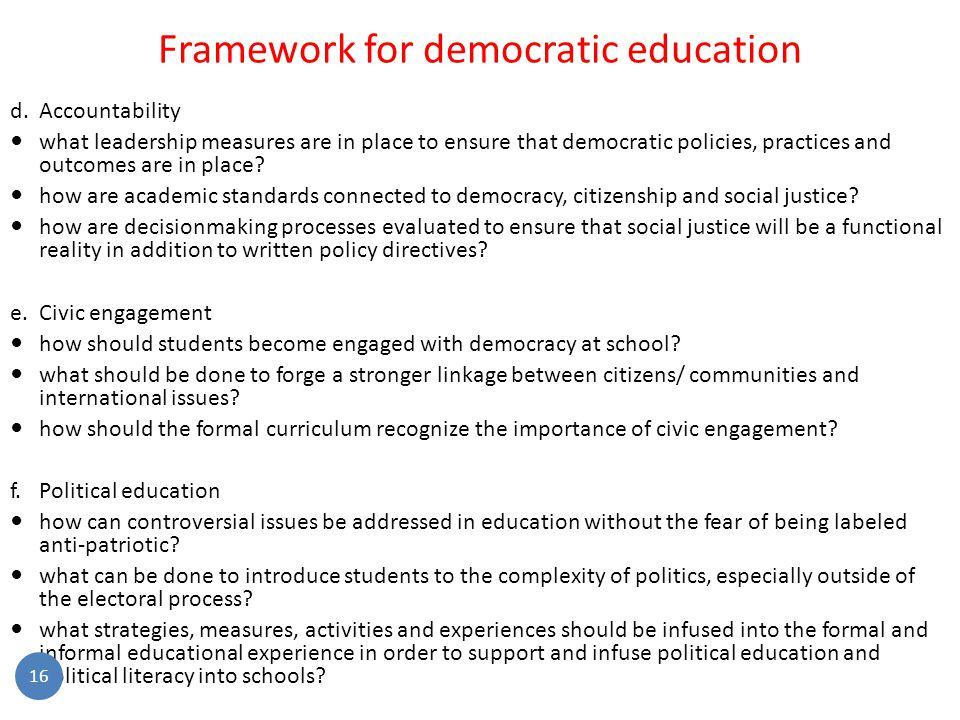 Framework for democratic education d.