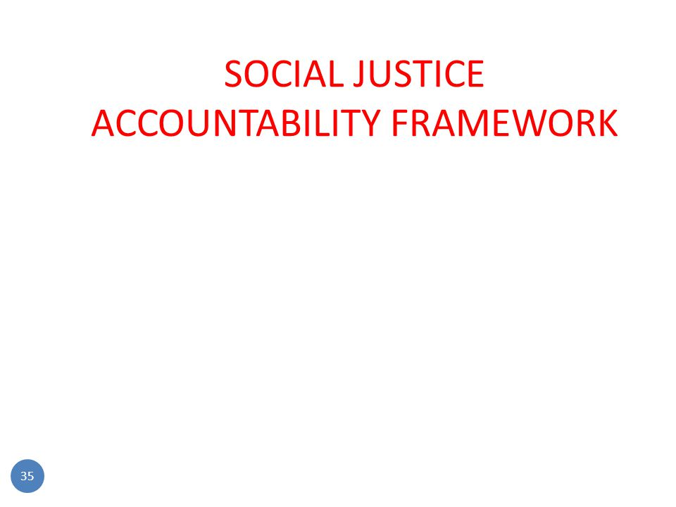 SOCIAL JUSTICE ACCOUNTABILITY FRAMEWORK 35