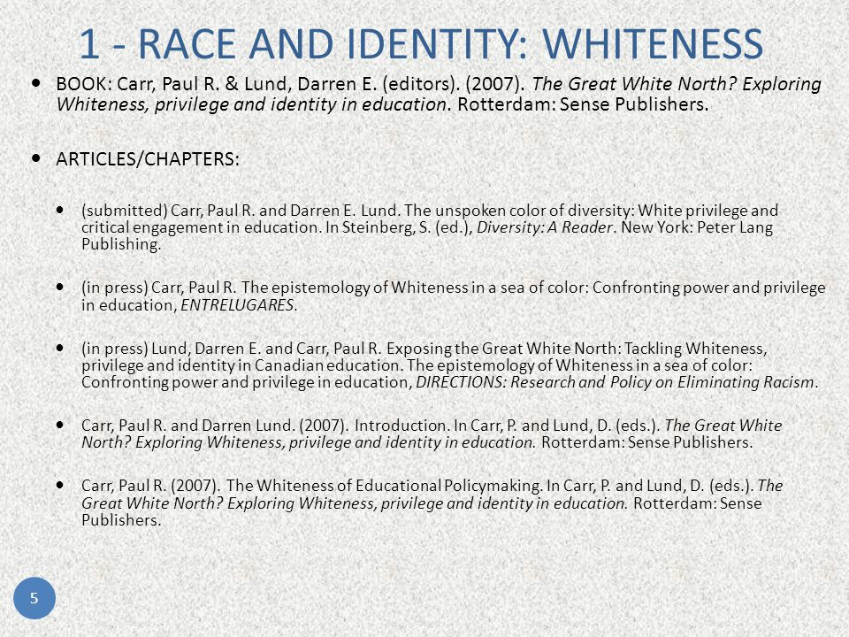 1 - RACE AND IDENTITY: WHITENESS BOOK: Carr, Paul R.