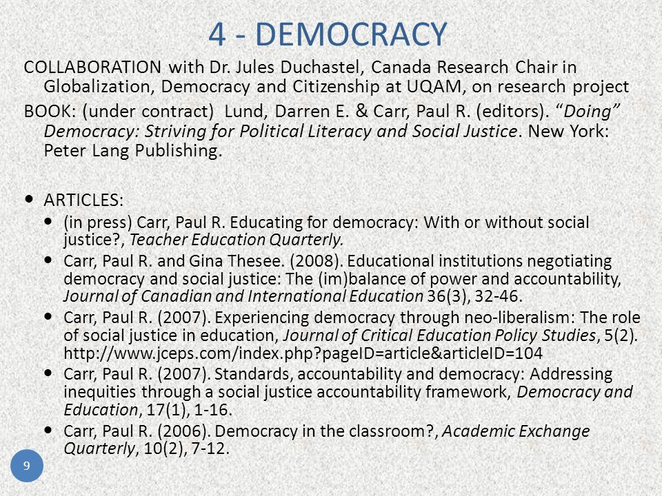 Perspectives, experiences and perceptions of education students in relation to democracy Dr.