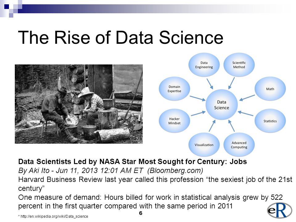 6 The Rise of Data Science * http://en.wikipedia.org/wiki/Data_science Data Scientists Led by NASA Star Most Sought for Century: Jobs By Aki Ito - Jun 11, 2013 12:01 AM ET (Bloomberg.com) Harvard Business Review last year called this profession the sexiest job of the 21st century One measure of demand: Hours billed for work in statistical analysis grew by 522 percent in the first quarter compared with the same period in 2011