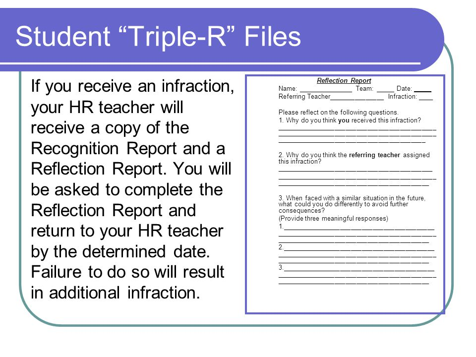 Responsibility Conferences Three Infractions: Team Conference Five Infractions: Parent Conference Seven Infractions: Behavior Contract with Behavior Management Specialist Eight Infractions: Immediate referral to administration for further action **Each additional infraction will be referred directly to the office.