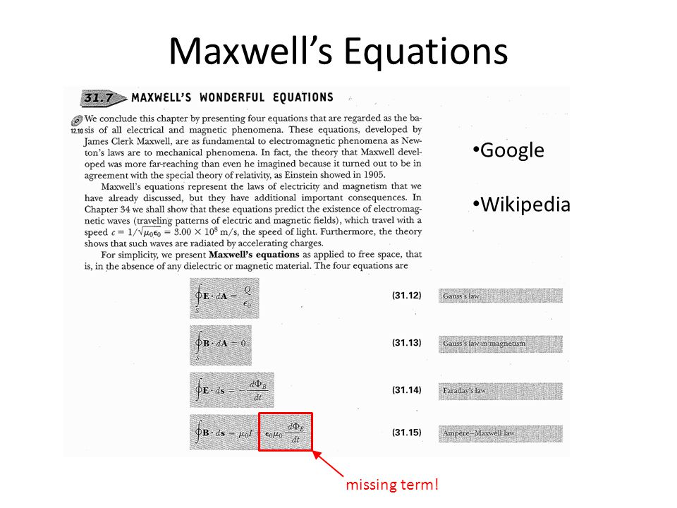 Maxwell's Equations missing term! Google Wikipedia