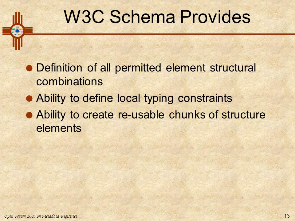 Open Forum 2003 on Metadata Registries 13 W3C Schema Provides  Definition of all permitted element structural combinations  Ability to define local