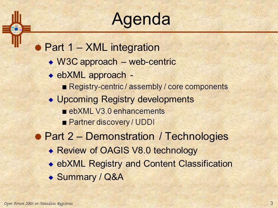 Open Forum 2003 on Metadata Registries 3 Agenda  Part 1 – XML integration  W3C approach – web-centric  ebXML approach - Registry-centric / assembly