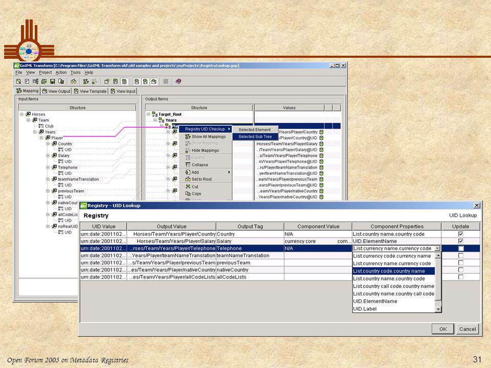 Open Forum 2003 on Metadata Registries 31 Registry Lookup
