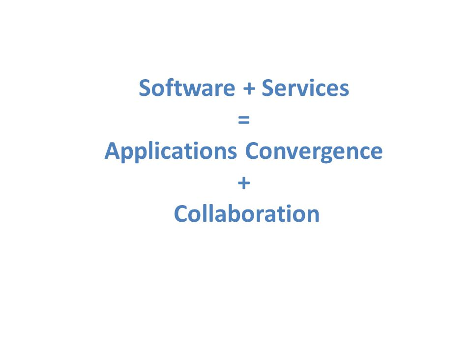 Software + Services = Applications Convergence + Collaboration