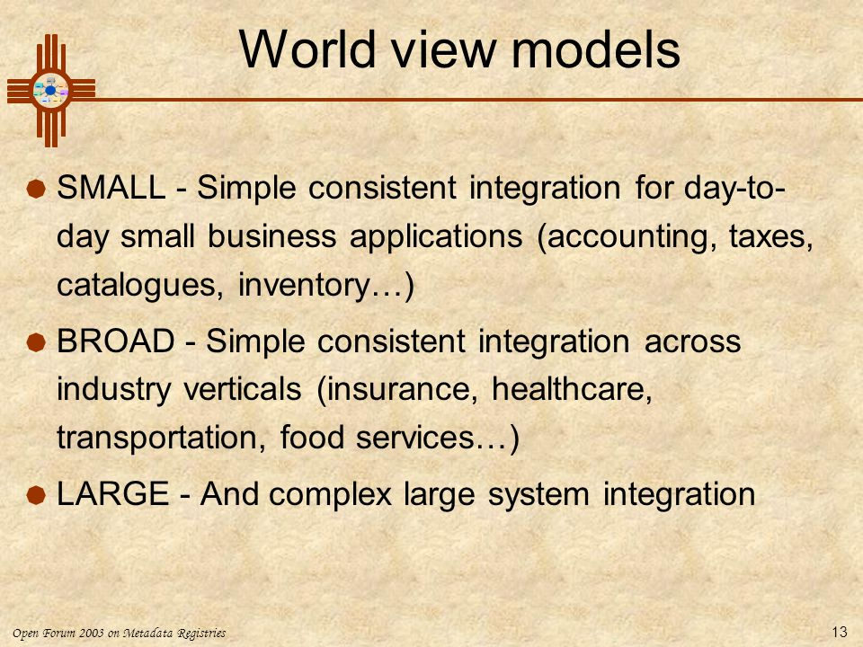 Open Forum 2003 on Metadata Registries 13 World view models  SMALL - Simple consistent integration for day-to- day small business applications (accounting, taxes, catalogues, inventory…)  BROAD - Simple consistent integration across industry verticals (insurance, healthcare, transportation, food services…)  LARGE - And complex large system integration