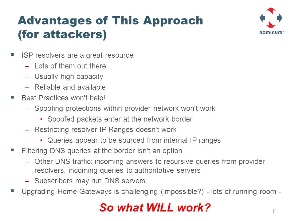 Advantages of This Approach (for attackers)  ISP resolvers are a great resource –Lots of them out there –Usually high capacity –Reliable and available  Best Practices won t help.