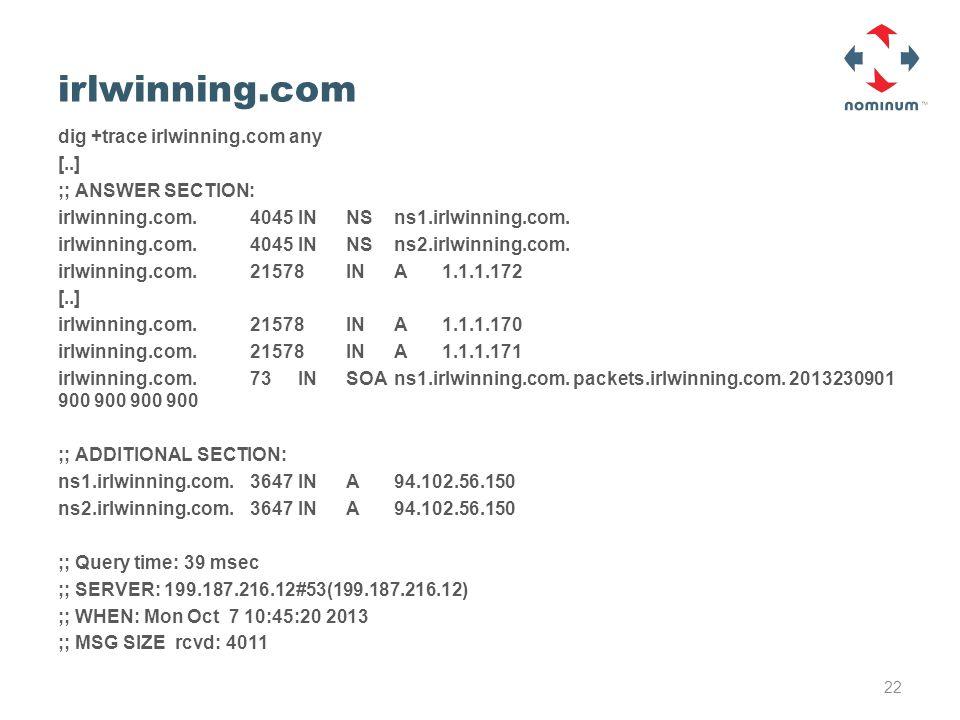irlwinning.com dig +trace irlwinning.com any [..] ;; ANSWER SECTION: irlwinning.com.4045INNSns1.irlwinning.com.