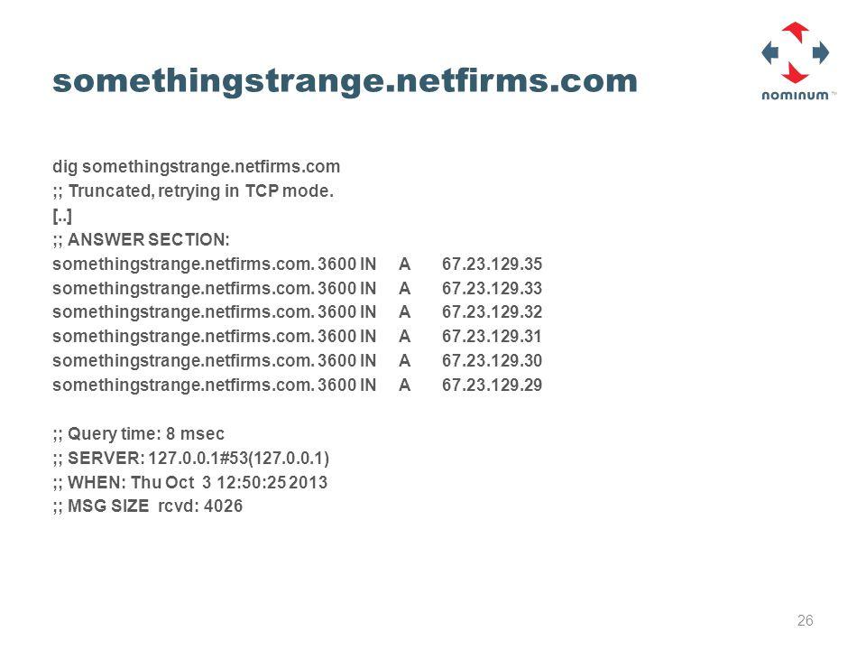 somethingstrange.netfirms.com dig somethingstrange.netfirms.com ;; Truncated, retrying in TCP mode.