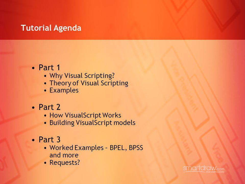 Tutorial Agenda Part 1 Why Visual Scripting? Theory of Visual Scripting Examples Part 2 How VisualScript Works Building VisualScript models Part 3 Wor