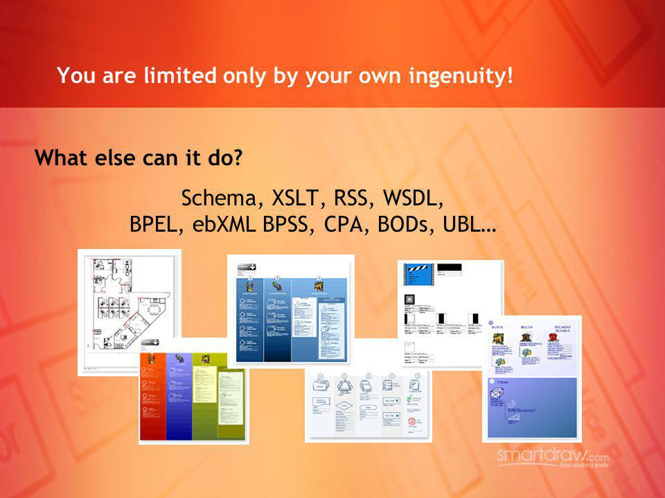 You are limited only by your own ingenuity! What else can it do? Schema, XSLT, RSS, WSDL, BPEL, ebXML BPSS, CPA, BODs, UBL…