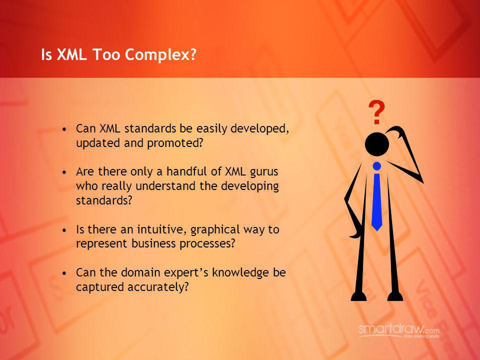 Is XML Too Complex? Can XML standards be easily developed, updated and promoted? Are there only a handful of XML gurus who really understand the devel