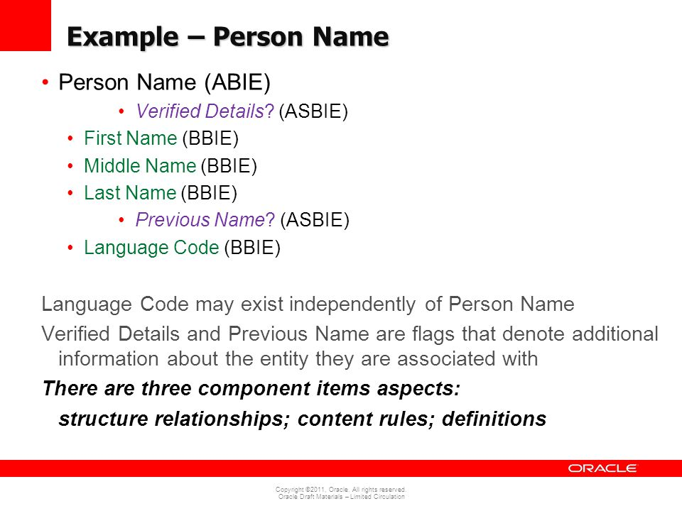 Copyright ©2011, Oracle. All rights reserved. Oracle Draft Materials – Limited Circulation Example – Person Name Person Name (ABIE) Verified Details?