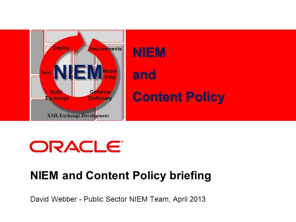 NIEM and Content Policy briefing David Webber - Public Sector NIEM Team, April 2013 NIEM Test Model Data Deploy Requirements Build Exchange Generate Dictionary XML Exchange Development NIEMand Content Policy
