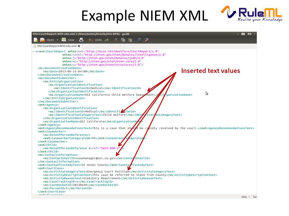 Example NIEM XML Inserted text values