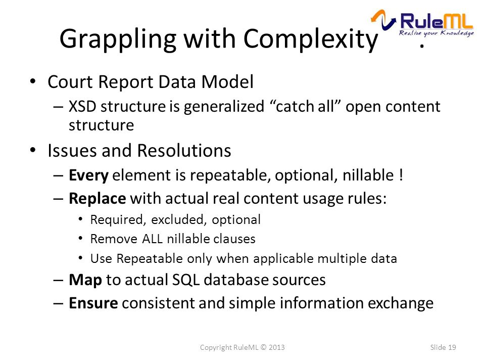 """Grappling with Complexity. Court Report Data Model – XSD structure is generalized """"catch all"""" open content structure Issues and Resolutions – Every el"""