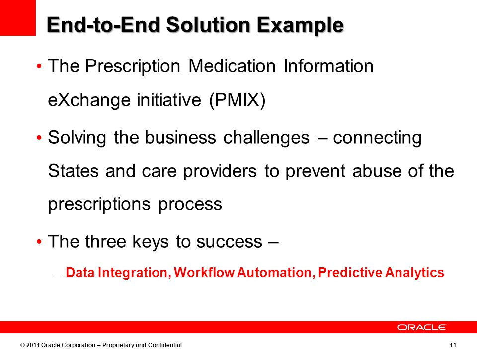 © 2011 Oracle Corporation – Proprietary and Confidential11 End-to-End Solution Example The Prescription Medication Information eXchange initiative (PMIX) Solving the business challenges – connecting States and care providers to prevent abuse of the prescriptions process The three keys to success – – Data Integration, Workflow Automation, Predictive Analytics