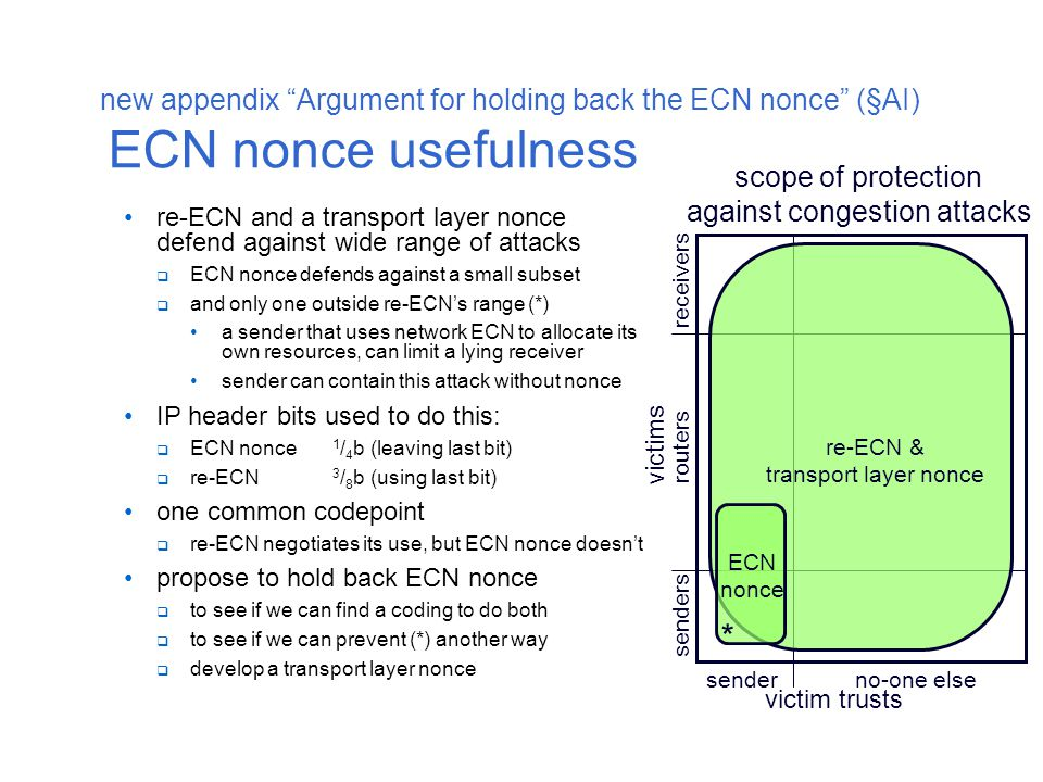 new appendix Argument for holding back the ECN nonce (§AI) ECN nonce usefulness re-ECN and a transport layer nonce defend against wide range of attacks  ECN nonce defends against a small subset  and only one outside re-ECN's range (*) a sender that uses network ECN to allocate its own resources, can limit a lying receiver sender can contain this attack without nonce IP header bits used to do this:  ECN nonce 1 / 4 b (leaving last bit)  re-ECN 3 / 8 b (using last bit) one common codepoint  re-ECN negotiates its use, but ECN nonce doesn't propose to hold back ECN nonce  to see if we can find a coding to do both  to see if we can prevent (*) another way  develop a transport layer nonce senderno-one else victim trusts senders routers victims scope of protection against congestion attacks receivers ECN nonce re-ECN & transport layer nonce *