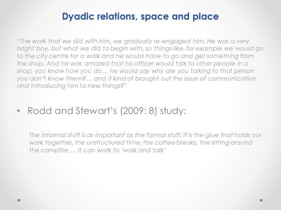 "Dyadic relations, space and place ""The work that we did with him, we gradually re-engaged him. He was a very bright boy, but what we did to begin with"