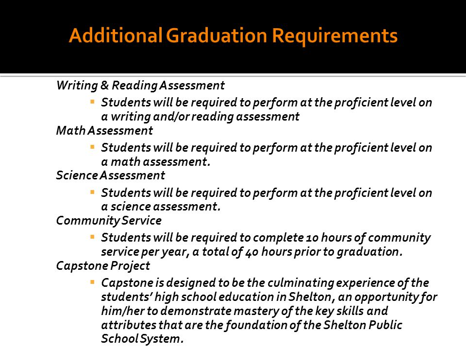 Writing & Reading Assessment  Students will be required to perform at the proficient level on a writing and/or reading assessment Math Assessment  Students will be required to perform at the proficient level on a math assessment.