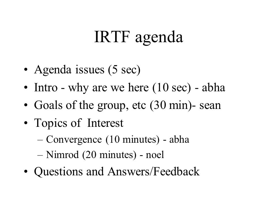 IRTF RR intro Who are we.