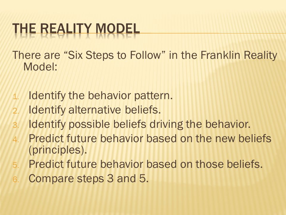There are Six Steps to Follow in the Franklin Reality Model: 1.