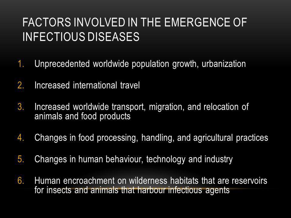 FACTORS INVOLVED IN THE EMERGENCE OF INFECTIOUS DISEASES 1.Unprecedented worldwide population growth, urbanization 2.Increased international travel 3.