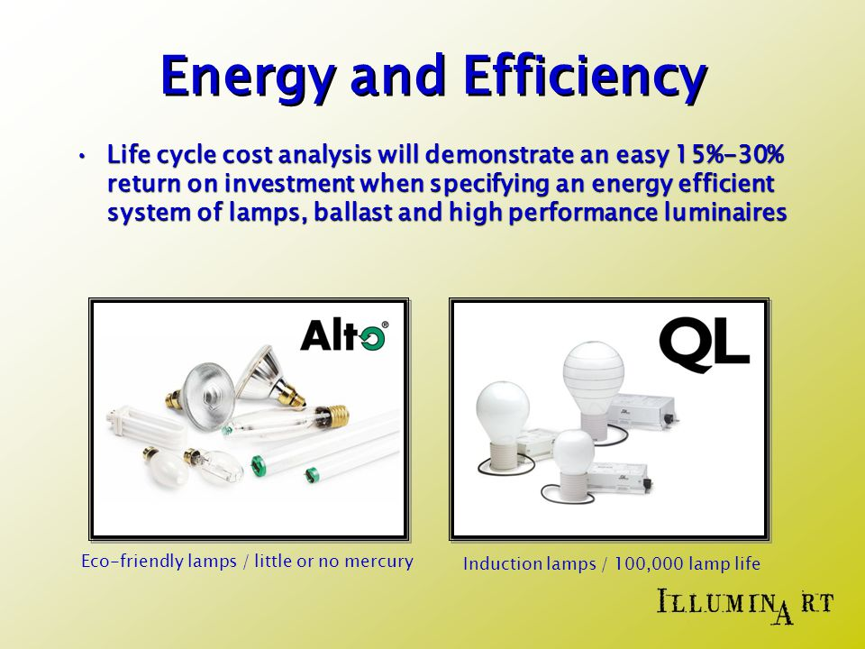 Energy and Efficiency Life cycle cost analysis will demonstrate an easy 15%-30% return on investment when specifying an energy efficient system of lamps, ballast and high performance luminairesLife cycle cost analysis will demonstrate an easy 15%-30% return on investment when specifying an energy efficient system of lamps, ballast and high performance luminaires Eco-friendly lamps / little or no mercury Induction lamps / 100,000 lamp life