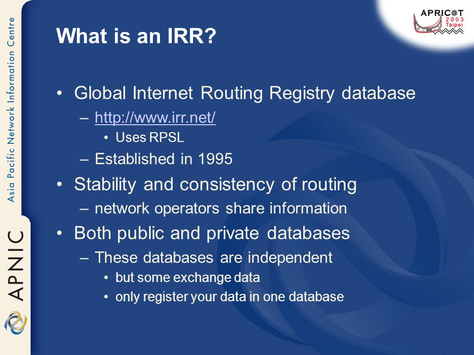 What is an IRR.